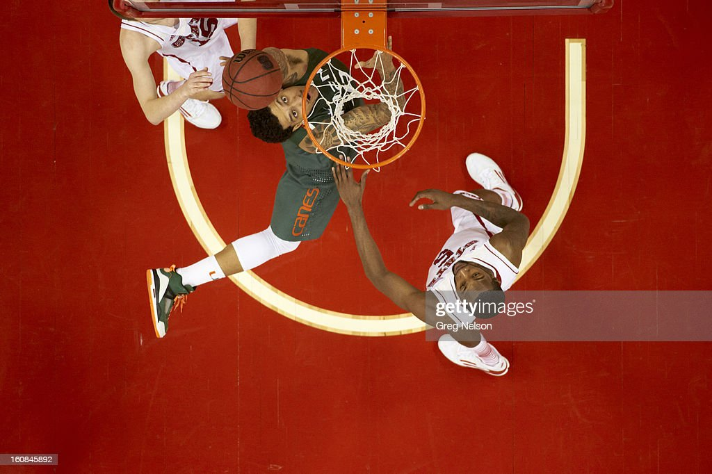 Aerial view of Miami Julian Gamble (45) in action vs North Carolina State at PNC Arena. Greg Nelson F35 )