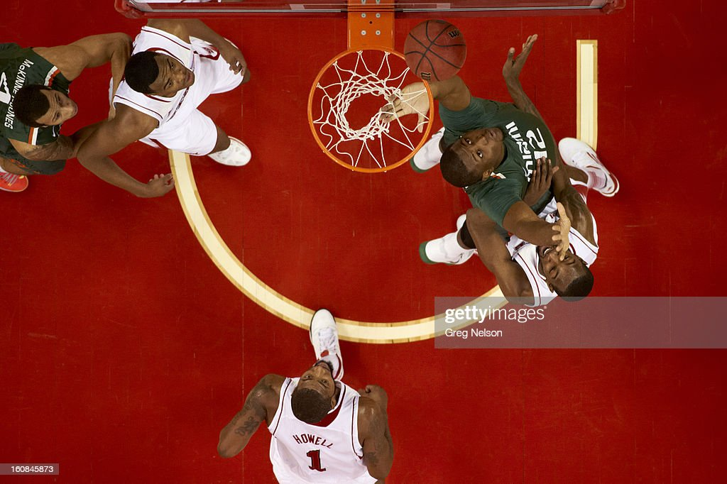 Aerial view of Miami Reggie Johnson (42) in action vs North Carolina State at PNC Arena. Greg Nelson F77 )