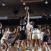 AIAW Semifinal Delta State Lusia Harris in action jump ball during tipoff vs Tennessee at Williams Arena Minneapolis MN CREDIT John G Zimmerman