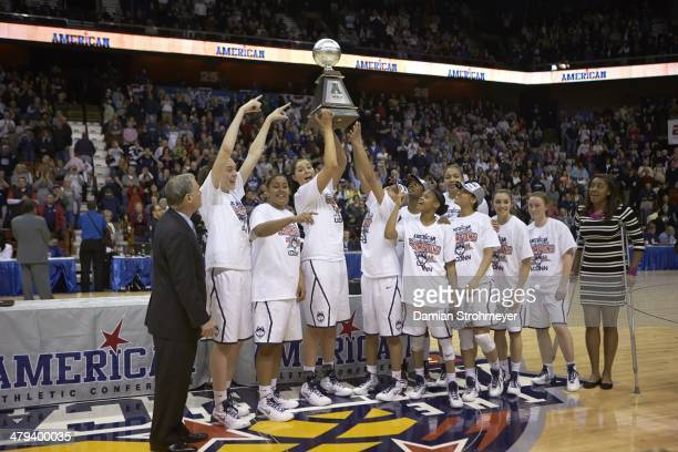 American Athletic Conference Tournament UConn Breanna Stewart and teammates victorious with trophy after winning tournament vs Louisville at Mohegan...
