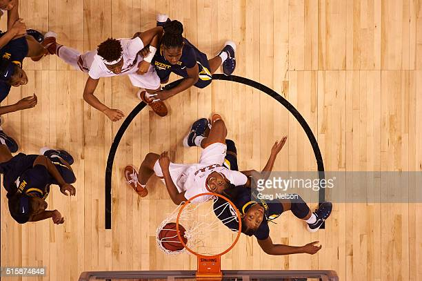 Big 12 Women's Championship Aerial view of Texas Ariel Atkins in action vs West Virginia Bria Holmes at Chesapeake Energy Arena Oklahoma City OK...