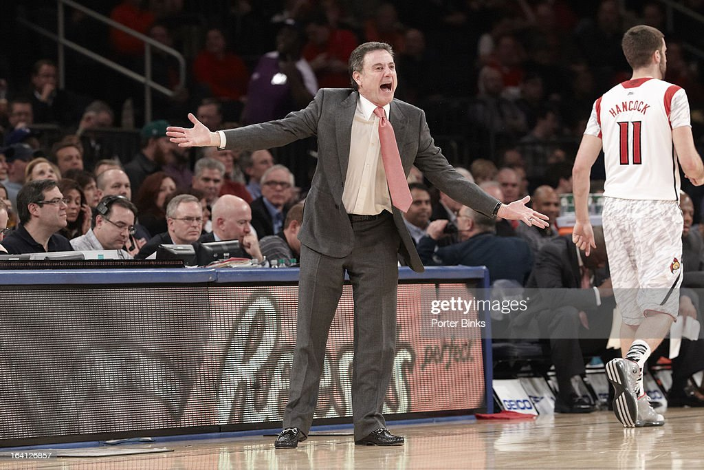 Louisville coach Rick Pitino on sidelines vs Notre Dame during Semifinal game at Madison Square Garden. Porter Binks F35 )