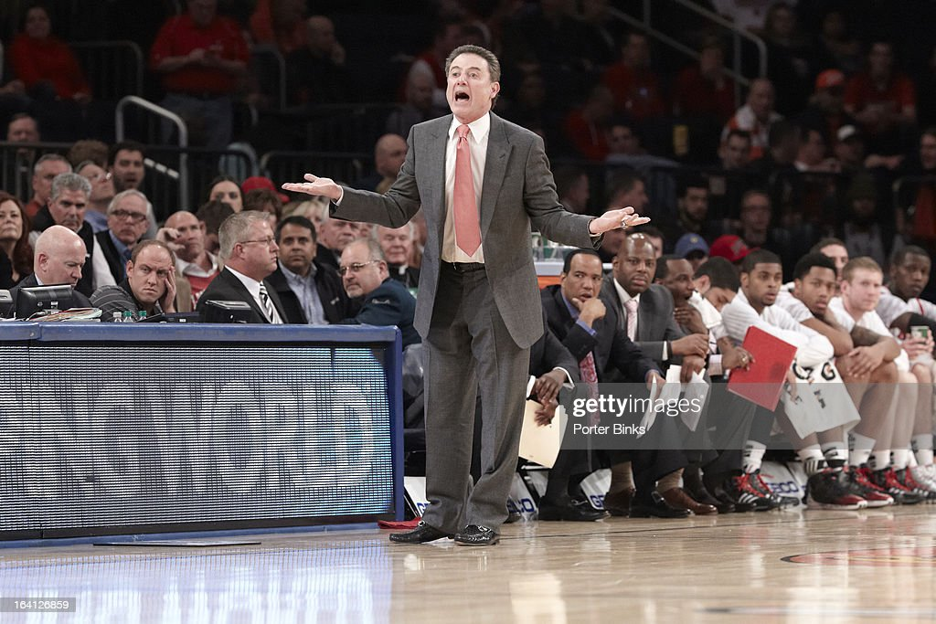 Louisville coach Rick Pitino on sidelines vs Notre Dame during Semifinal game at Madison Square Garden. Porter Binks F38 )