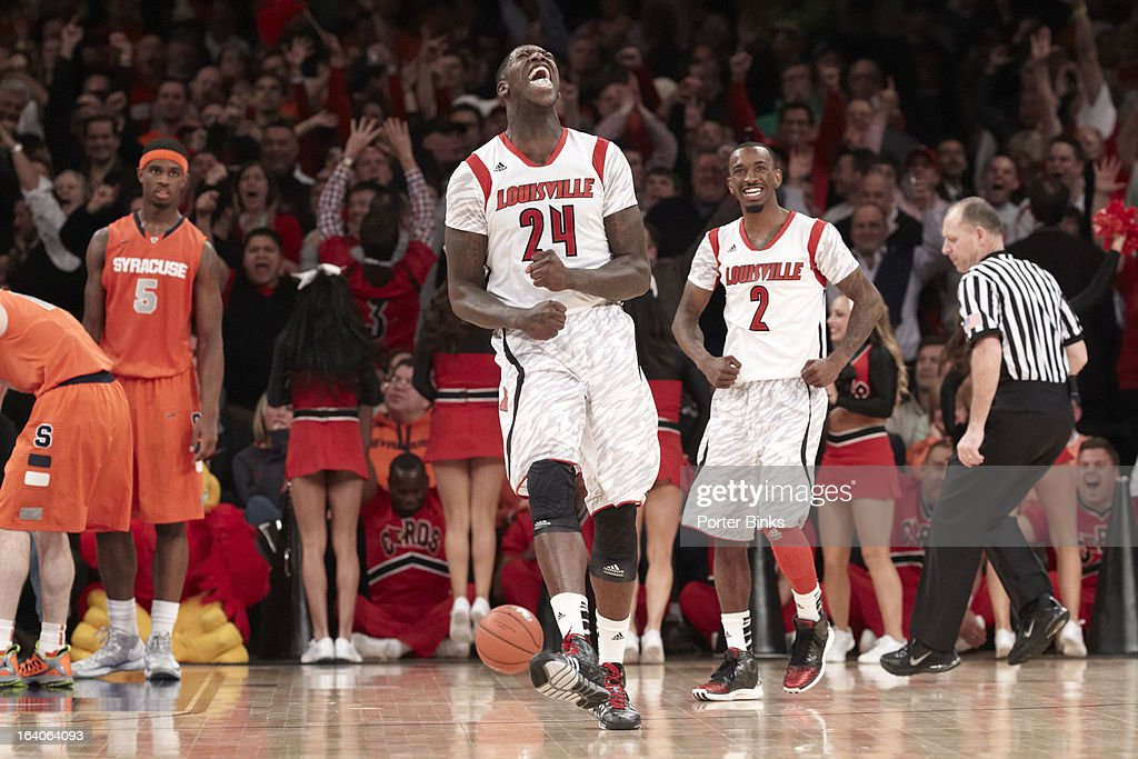 Louisville Russ Smith (2) and Montrezl Harrell (24) victorious during game vs Syracuse during Finals at Madison Square Garden. Porter Binks F105 )