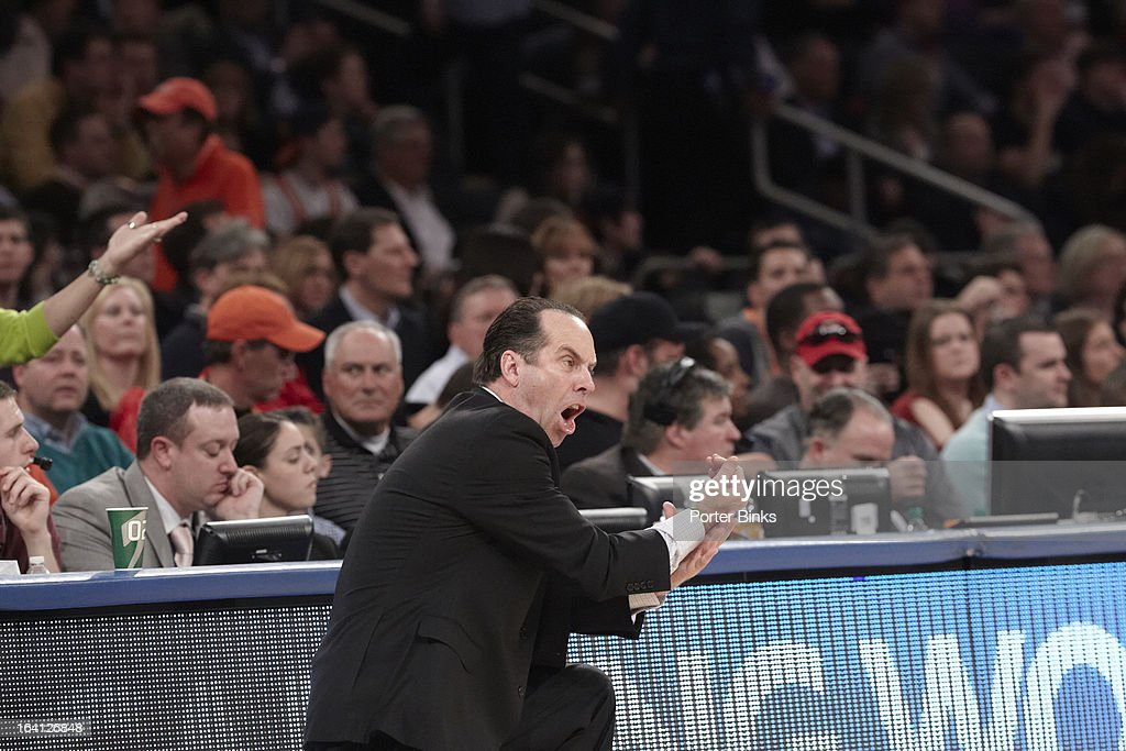 Notre Dame coach Mike Brey on sidelines during Semifinal game vs Louisville at Madison Square Garden. Porter Binks F17 )