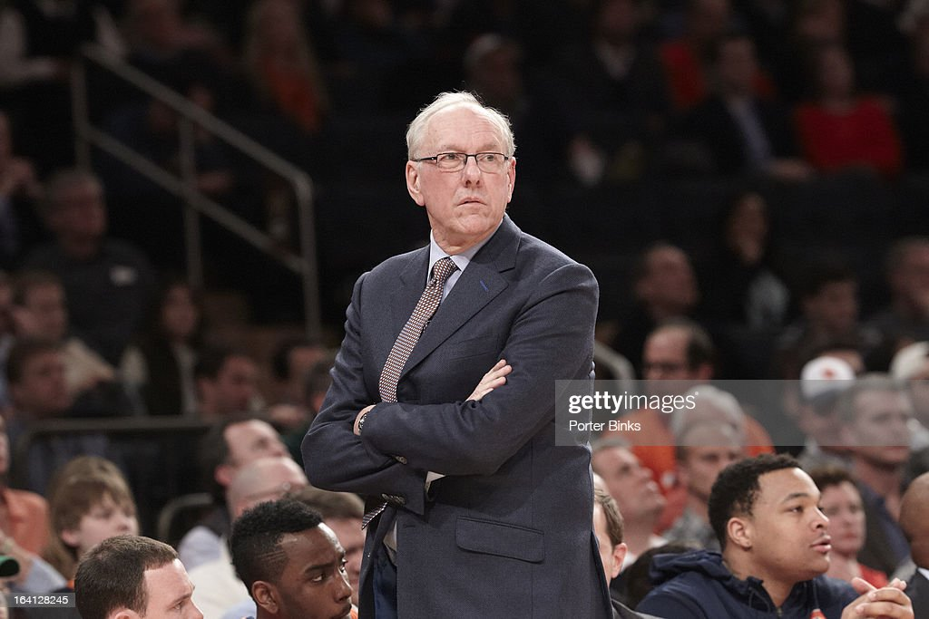 Syracuse coach Jim Boeheim during Semifinal game vs Georgetown at Madison Square Garden. Porter Binks F36 )