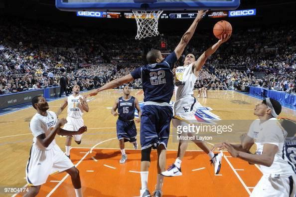 Big East Tournament West Virginia Joe Mazzulla in action layup vs Georgetown Julian Vaughn during Championship Game at Madison Square Garden New York...