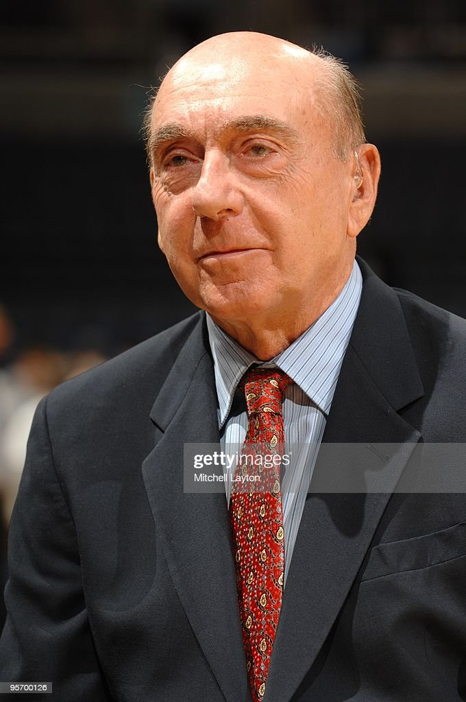 College basketball broadcaster <a gi-track='captionPersonalityLinkClicked' href=/galleries/search?phrase=Dick+Vitale&family=editorial&specificpeople=730924 ng-click='$event.stopPropagation()'>Dick Vitale</a> looks on before a college basketball game between the Georgetwon Hoyas and the Connecticut Huskies on January 9, 2010 at the Verizon Center in Washington DC.