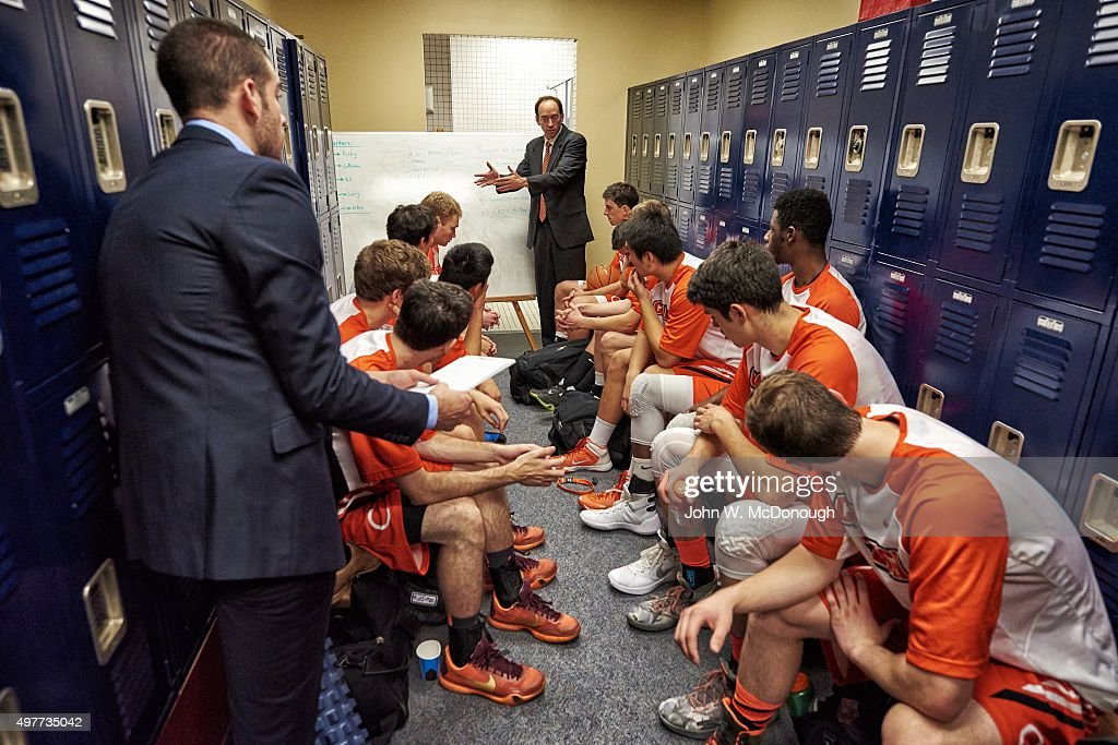 caltech head coach dr oliver eslinger with players in locker room during game vs university caltech recreation room
