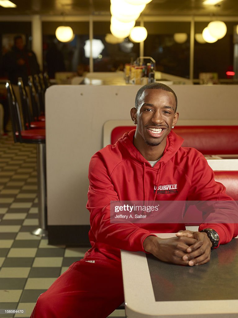 Casual portrait of Louisville Russ Smith posing during photo shoot at Waffle House on 4706 Preston Highway. Jeffery A. Salter F22 )