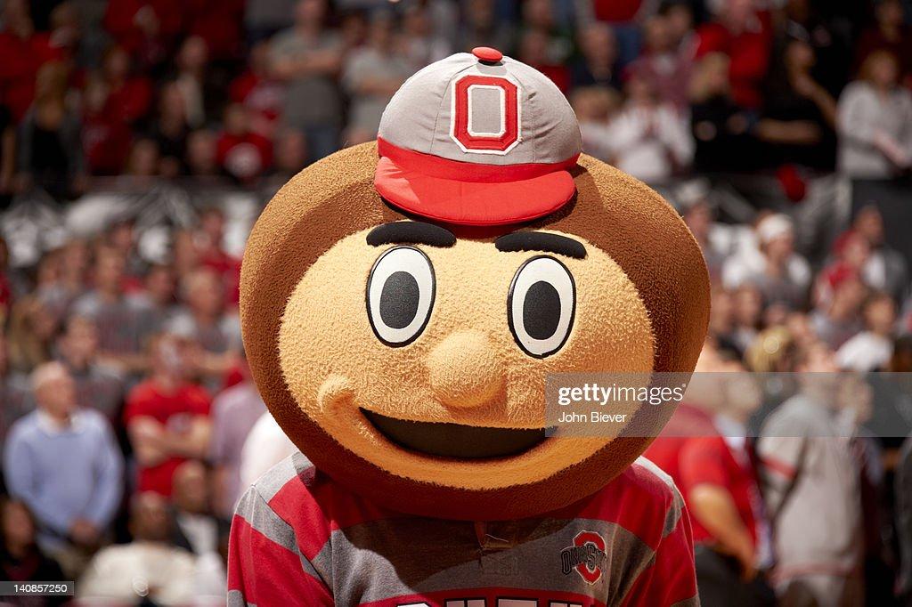 Closeup of Ohio State mascot Brutus Buckeye during game vs Michigan State at Value City Arena at Jerome Schottenstein Center. John Biever F34 )
