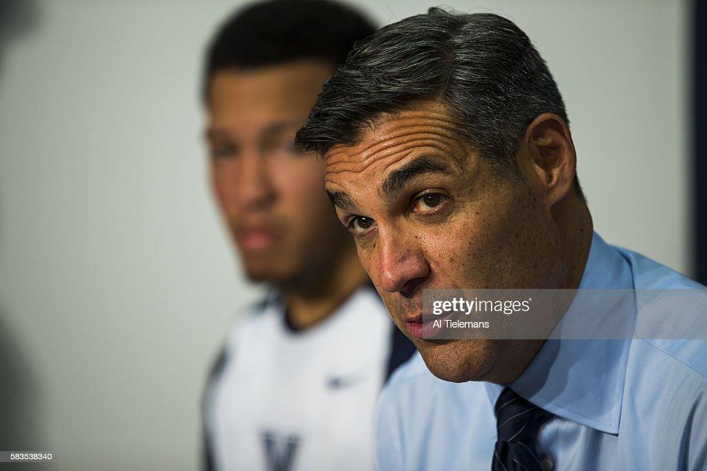 Closeup of Villanova coach Jay Wright during press conference before game vs Fairleigh Dickinson at The Pavilion Villanova PA CREDIT Al Tielemans