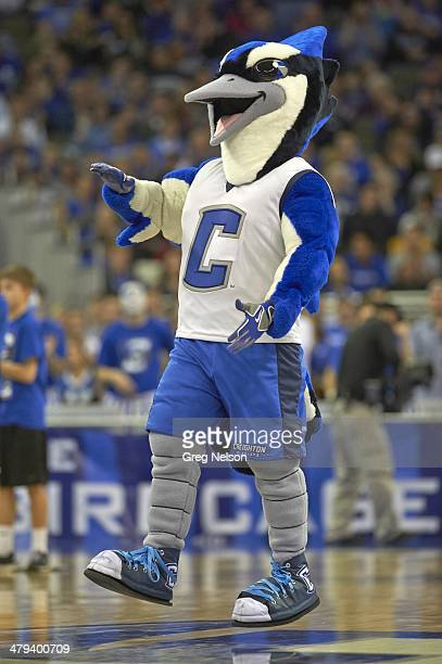 Creighton Bluejays mascot Billy the Bluejay on court during game vs Seton Hall at CenturyLink Center Omaha NE CREDIT Greg Nelson