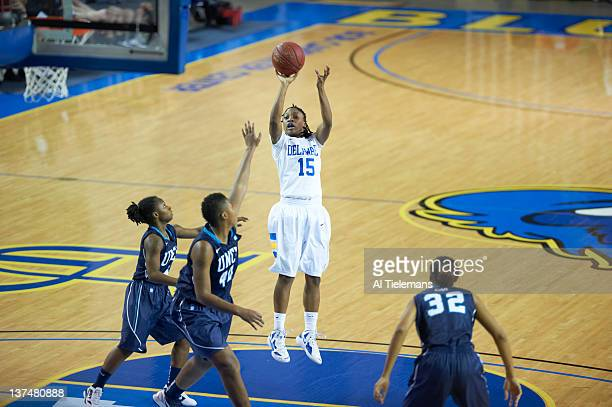 Delaware Akeema Richards in action shooting vs UNC Wilmington at Bob Carpenter Center Newark DE CREDIT Al Tielemans