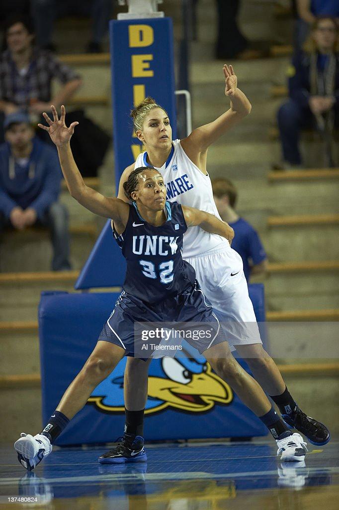 Delaware Elena Delle Donne in action vs UNC Wilmington Ayoola Weaver at Bob Carpenter Center Newark DE CREDIT Al Tielemans