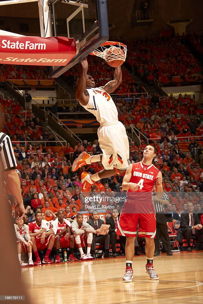 Illinois Brandon Paul (3) in action, dunking vs Ohio State at Assembly Hall. David E. Klutho F26 )