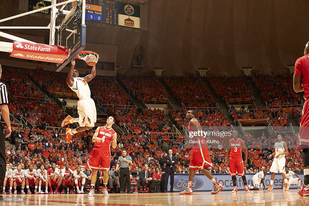Illinois Brandon Paul (3) in action, dunking vs Ohio State at Assembly Hall. David E. Klutho F17 )