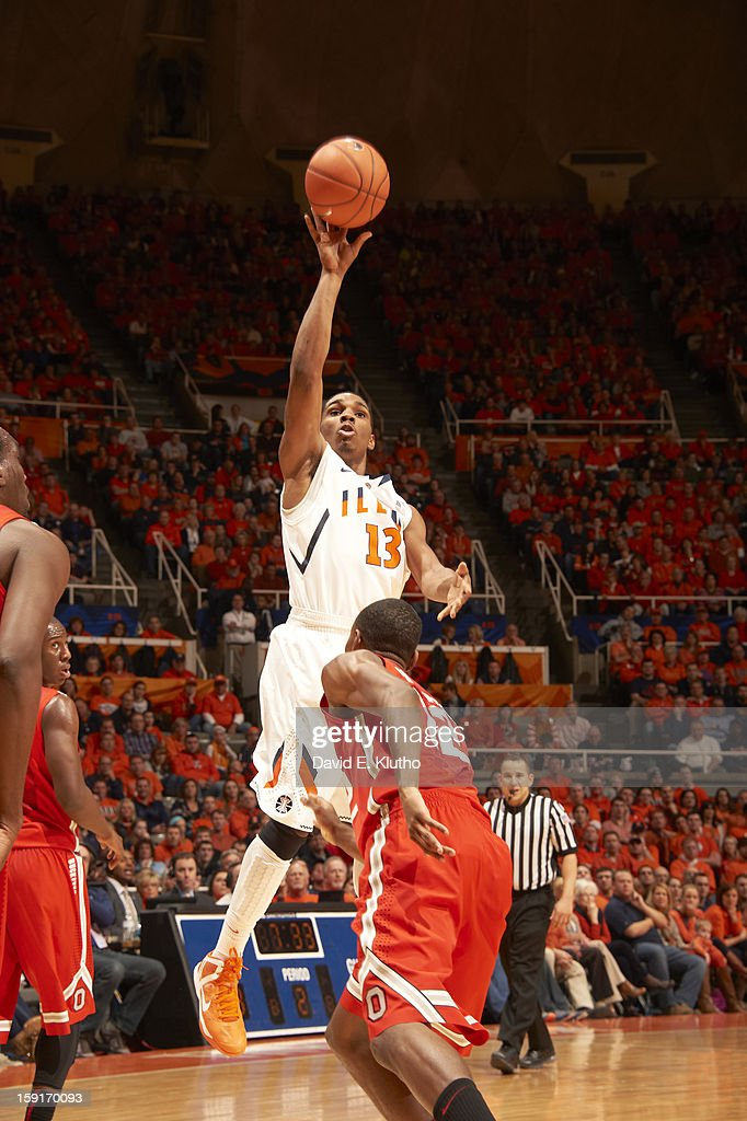 Illinois Tracy Abrams (13) in action, shooting vs Ohio State at Assembly Hall. David E. Klutho F208 )