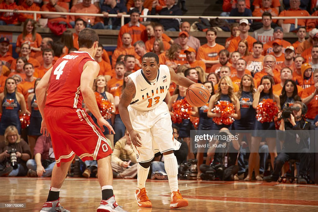 Illinois Tracy Abrams (13) in action vs Ohio State Aaron Craft (4) at Assembly Hall. David E. Klutho F180 )