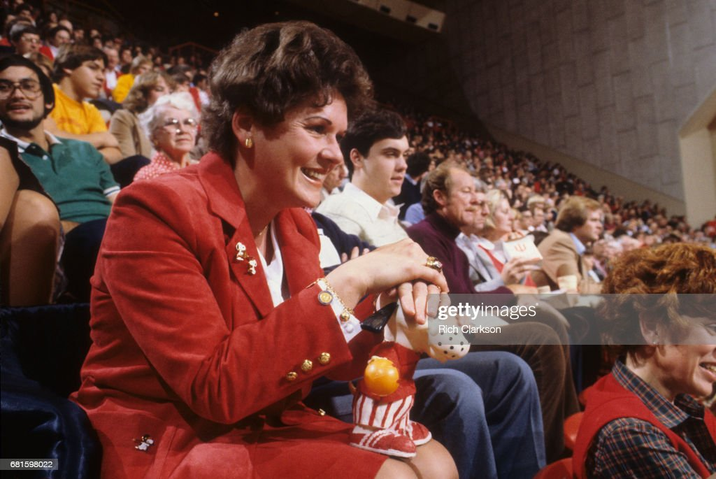 Indiana coach Bobby Knight's wife Nancy with her lucky dog in stands during game vs Baylor at Assembly Hall. Rich Clarkson F18 )