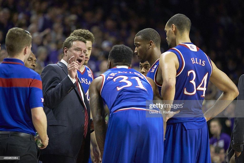 Kansas coach Bill Self in huddle with players during timeout during game vs Kansas State at Bramlage Coliseum Manhattan KS CREDIT David E Klutho