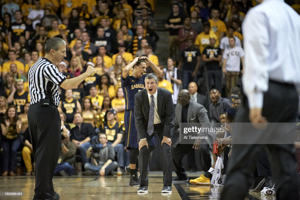 La Salle coach Dr. John Giannini on sidelines during game vs VCU at Verizon Wireless Arena at Stuart C. Siegel Center. Al Tielemans F147 )