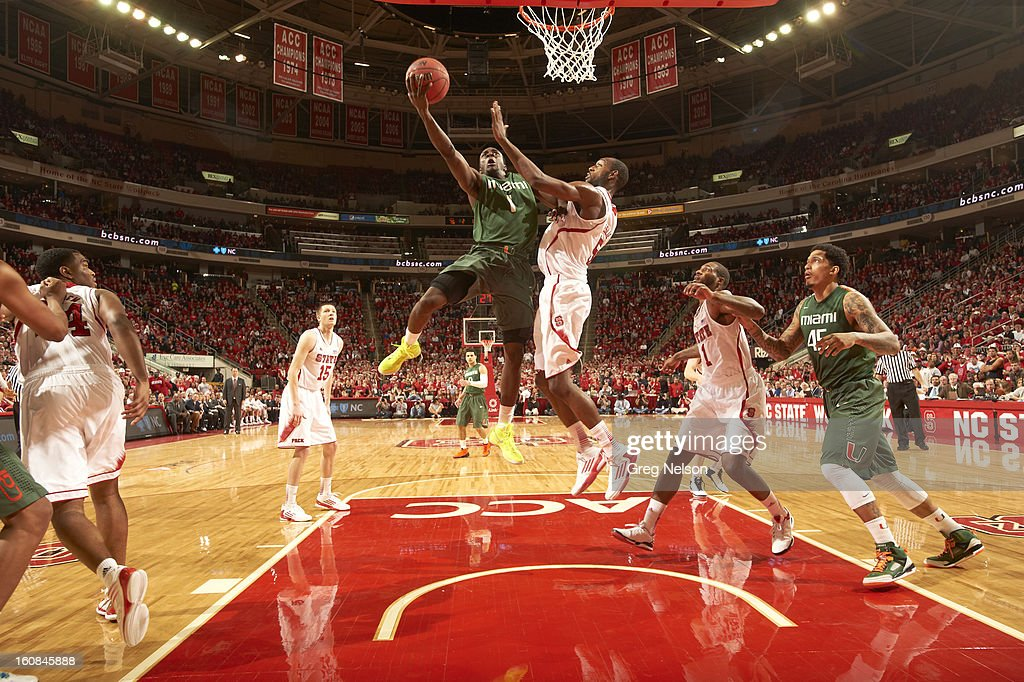 Miami Durand Scott (1) in action vs North Carolina State at PNC Arena. Greg Nelson F60 )