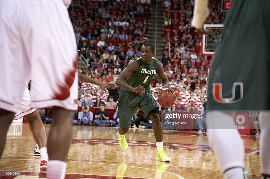 Miami Durand Scott (1) in action vs North Carolina State at PNC Arena. Greg Nelson F61 )
