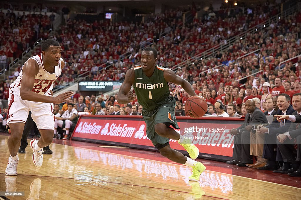 Miami Durand Scott (1) in action vs North Carolina State at PNC Arena. Greg Nelson F83 )