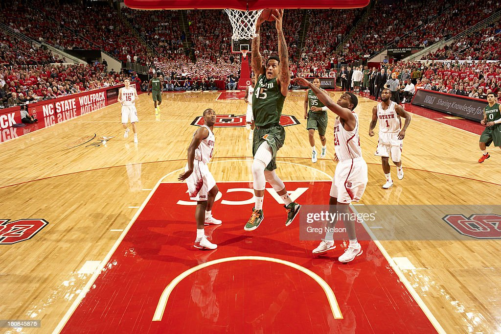 Miami Julian Gamble (45) in action vs North Carolina State at PNC Arena. Greg Nelson F11 )