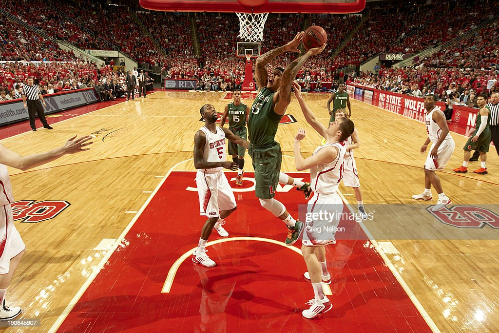Miami Julian Gamble (45) in action vs North Carolina State at PNC Arena. Greg Nelson F49 )