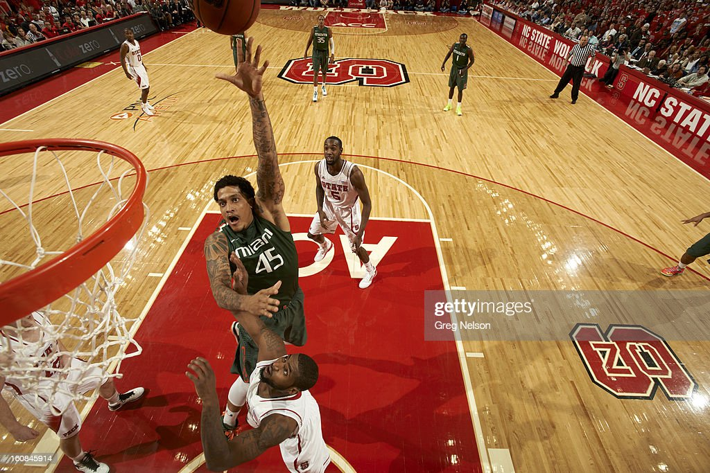 Miami Julian Gamble (45) in action vs North Carolina State at PNC Arena. Greg Nelson F41 )