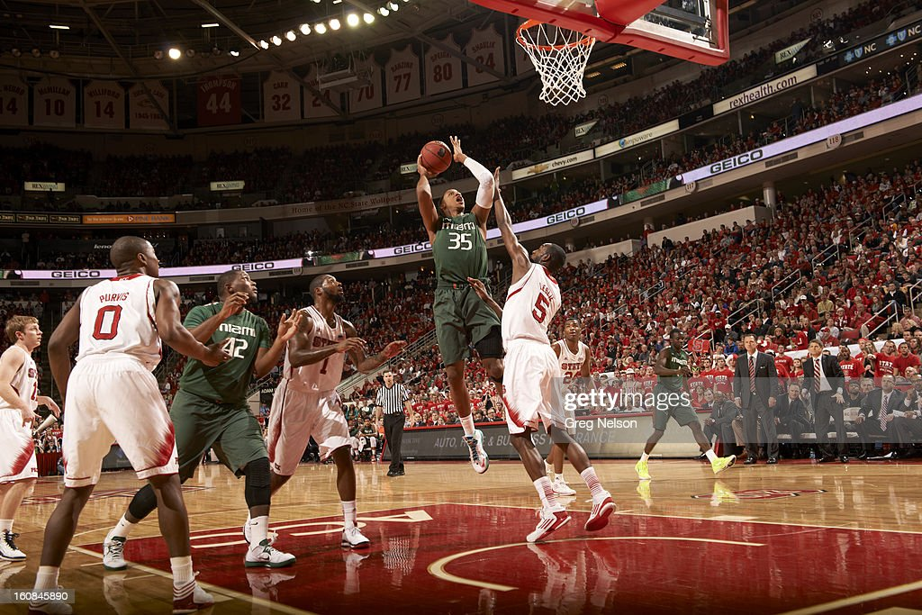 Miami Kenny Kadji (35) in action vs North Carolina State at PNC Arena. Greg Nelson F34 )