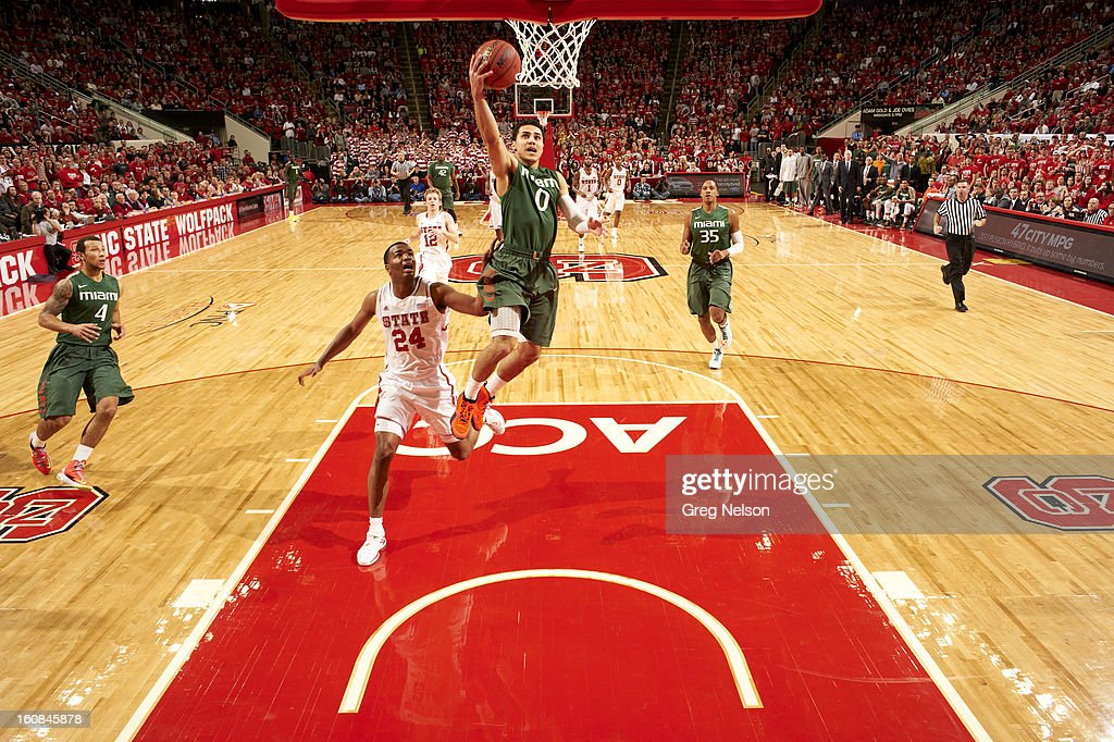 Miami Shane Larkin (0) in action vs North Carolina State at PNC Arena. Greg Nelson F39 )