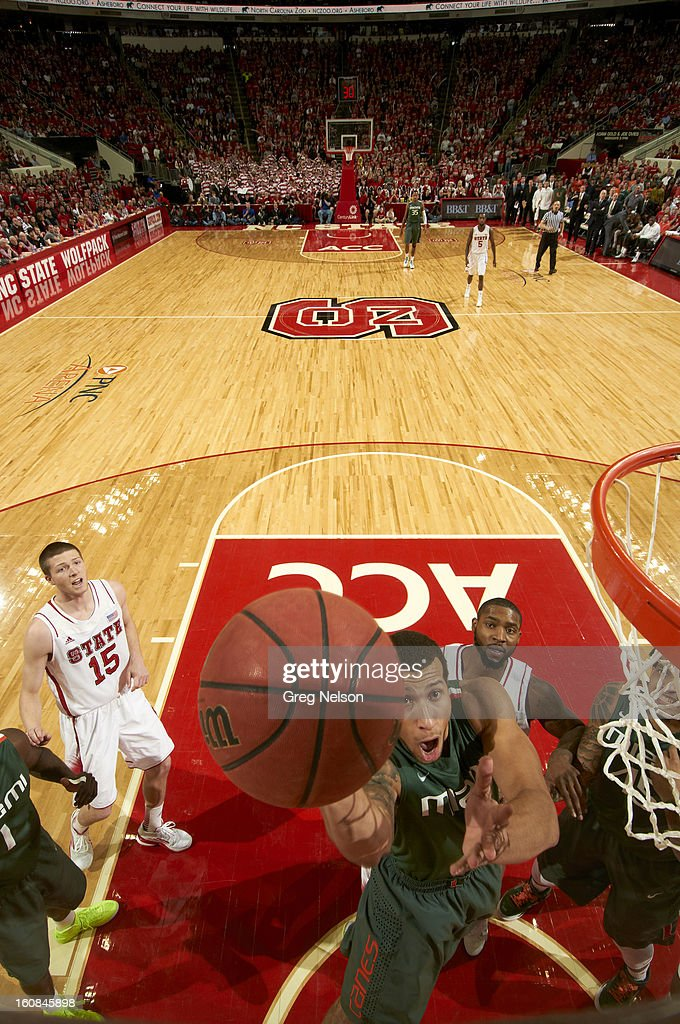 Miami Trey McKinney Jones (4) in action vs North Carolina State at PNC Arena. Greg Nelson F9 )