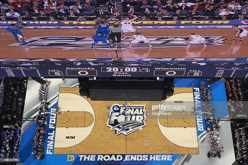 Aerial view of Kentucky Julius Randle (30) in action vs Wisconsin Frank Kaminsky (44) at AT&T Stadium. View of action on scoreboard. Greg Nelson X158052 TK1 R1 F321 )