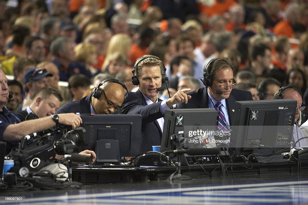 CBS announcers Clark Kellogg, Steve Kerr, and Jim Nantz during Louisville vs Wichita State game at Georgia Dome. John W. McDonough X156344 TK1 R4 F6 )