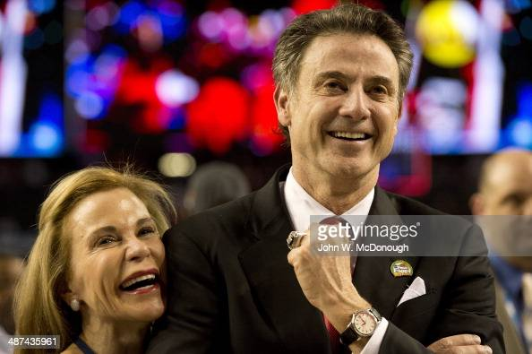 NCAA Final Four Closeup of Louisville head coach Rick Pitino victorious with his wife Joanne Minardi after winning National Championship game vs...
