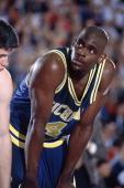College Basketball NCAA Final Four Closeup of Michigan Chris Webber on court during game vs Cincinnati Minneapolis MN 4/4/1992