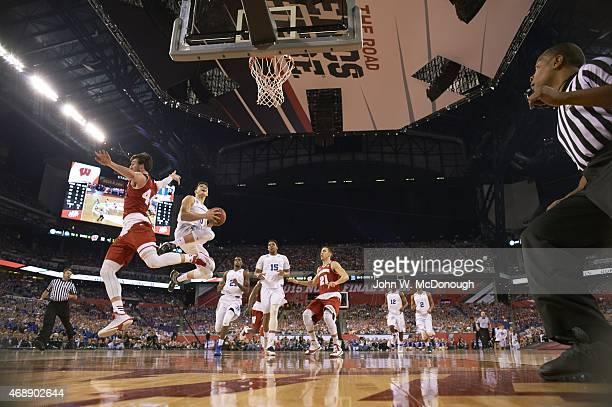 NCAA Final Four Duke Grayson Allen in action vs Wisconsin Frank Kaminsky at Lucas Oil Stadium Indianapolis IN CREDIT John W McDonough