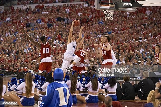 NCAA Final Four Duke Grayson Allen in action vs Wisconsin Sam Dekker at Lucas Oil Stadium Indianapolis IN CREDIT Greg Nelson