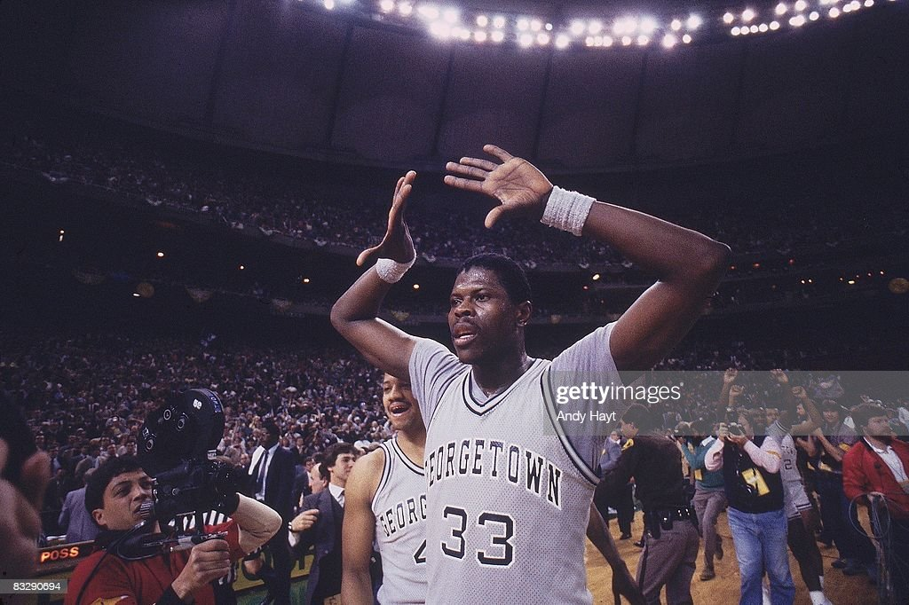 Georgetown <a gi-track='captionPersonalityLinkClicked' href=/galleries/search?phrase=Patrick+Ewing&family=editorial&specificpeople=202881 ng-click='$event.stopPropagation()'>Patrick Ewing</a> (33) victorious after winning national championship vs Houston. Seattle, WA 4/2/1984