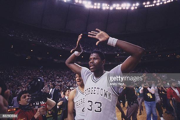 NCAA Final Four Georgetown Patrick Ewing victorious after winning national championship vs Houston Seattle WA 4/2/1984 CREDIT Andy Hayt