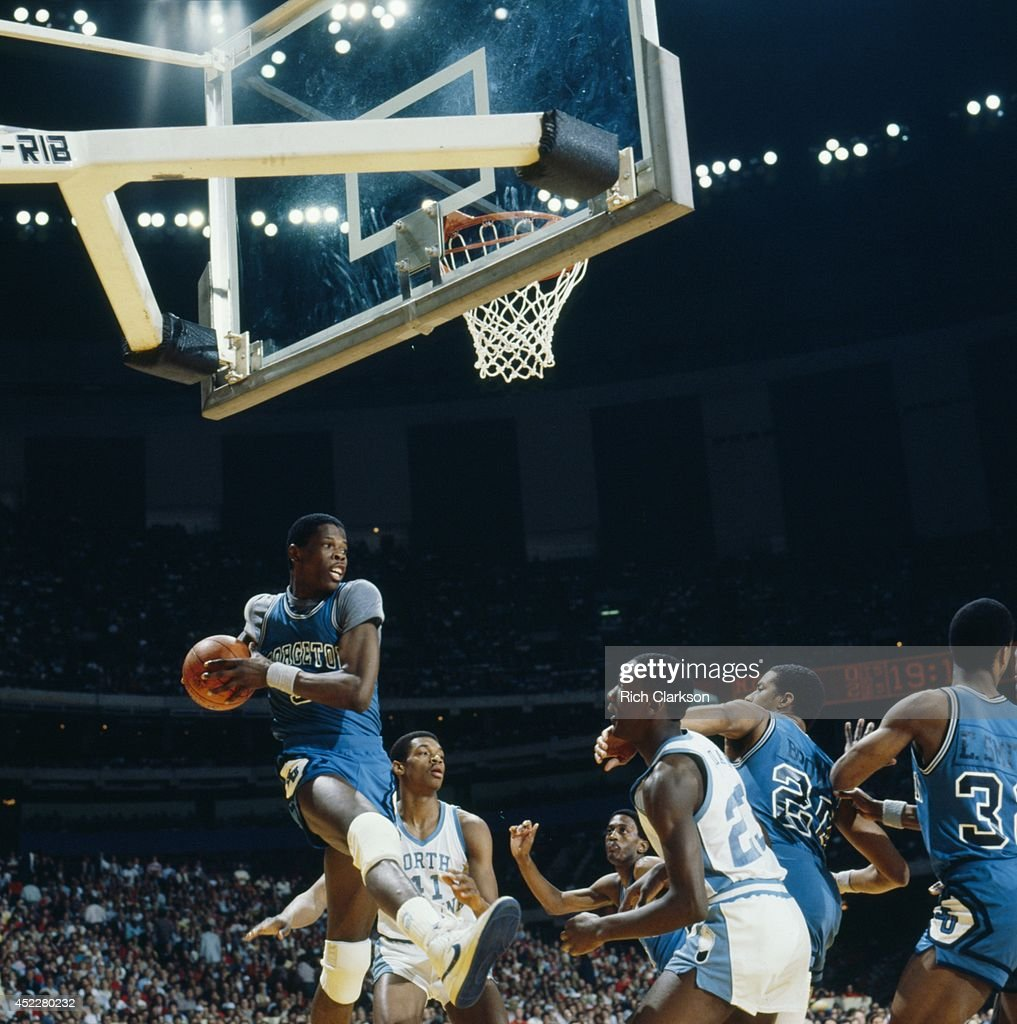 NCAA Final Four Georgetown Patrick Ewing in actionrebound vs North Carolina at Louisiana Superdome View of UNC Michael Jordan New Orleans LA CREDIT...