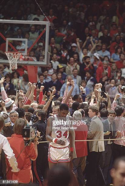 College Basketball NCAA Final Four Houston Akeem Olajuwon upset after losing championship game vs North Carolina State Albuquerque NM 4/4/1983