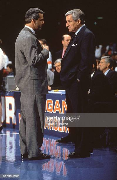 NCAA Final Four Kansas coach Roy Williams with North Carolina coach Dean Smith before National Semifinals game at Louisiana Superdome New Orleans LA...