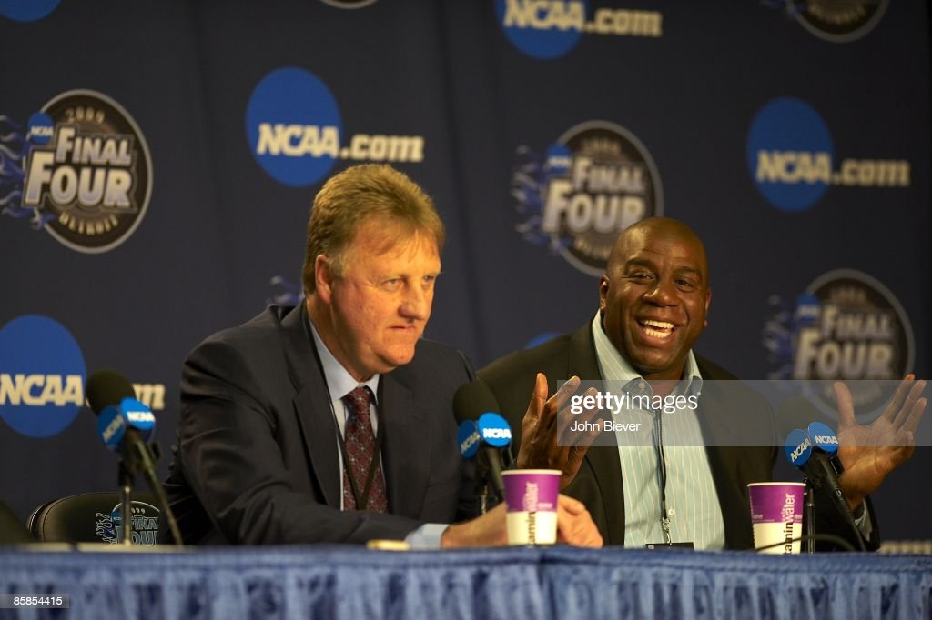 NCAA Final Four Larry Bird and Magic Johnson during media press conference before North Carolina vs Michigan State game at Ford Field Bird and...