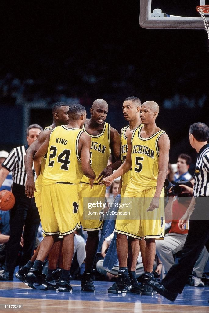 College Basketball NCAA Final Four Michigan Fab Five Jimmy King Ray Jackson Chris Webber Juwan Howard and Jalen Rose on court during game vs North...