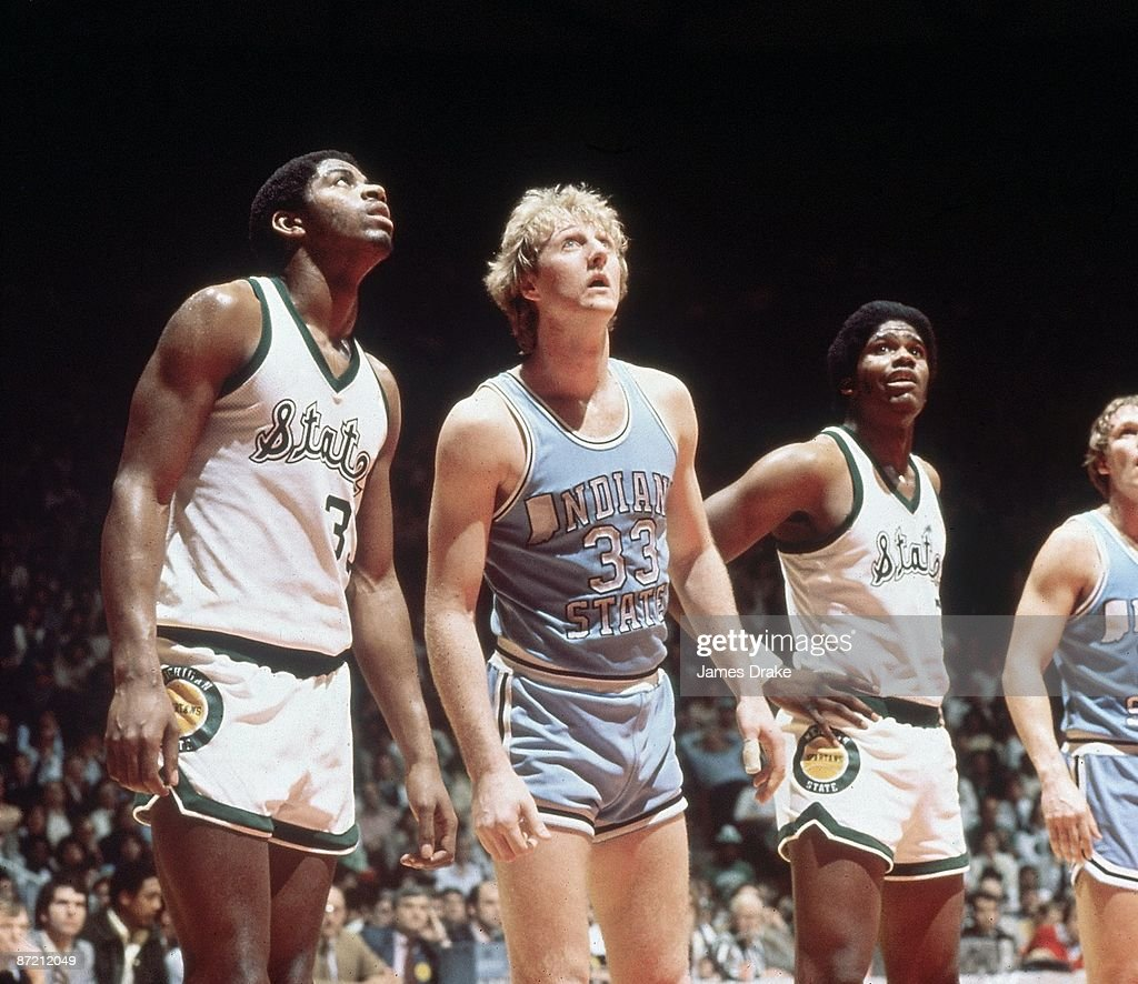 NCAA Final Four Michigan State Magic Johnson and Indiana State Larry Bird lining up for foul shot during game Salt Lake City UT 3/26/1979 CREDIT...