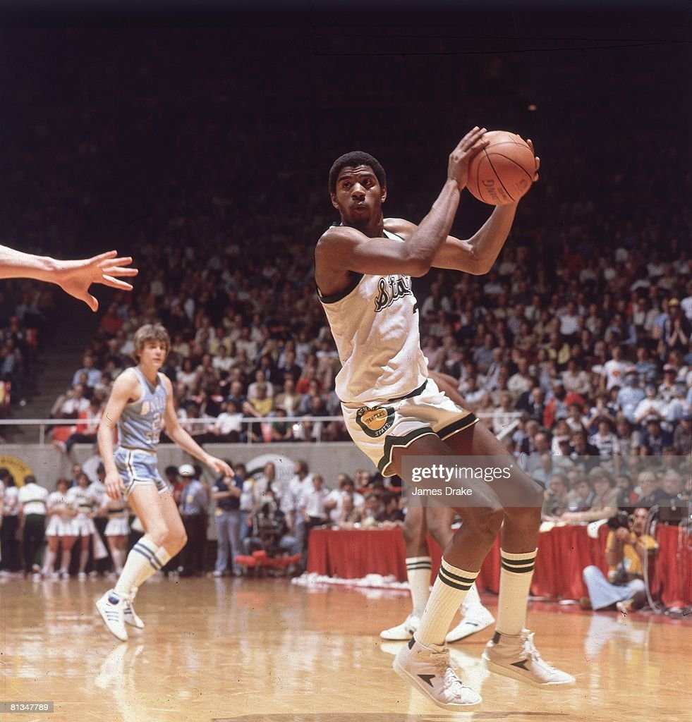 College Basketball NCAA Final Four Michigan State Magic Johnson in action vs Indiana State Salt Lake City UT 3/26/1979